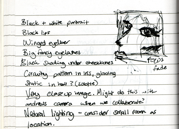 Planning sheet for the Tron portrait