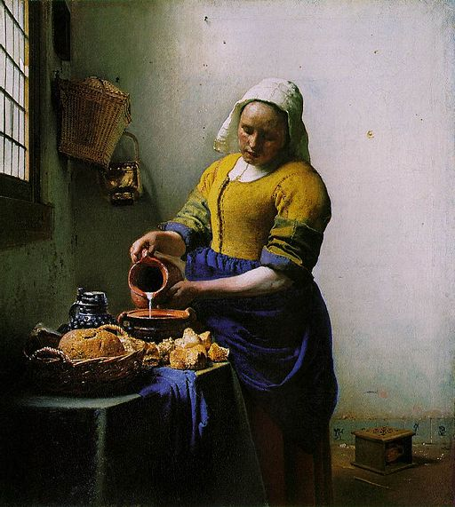 Vermeer – The Milkmaid [Public domain], by Johannes Vermeer (1632–1675)