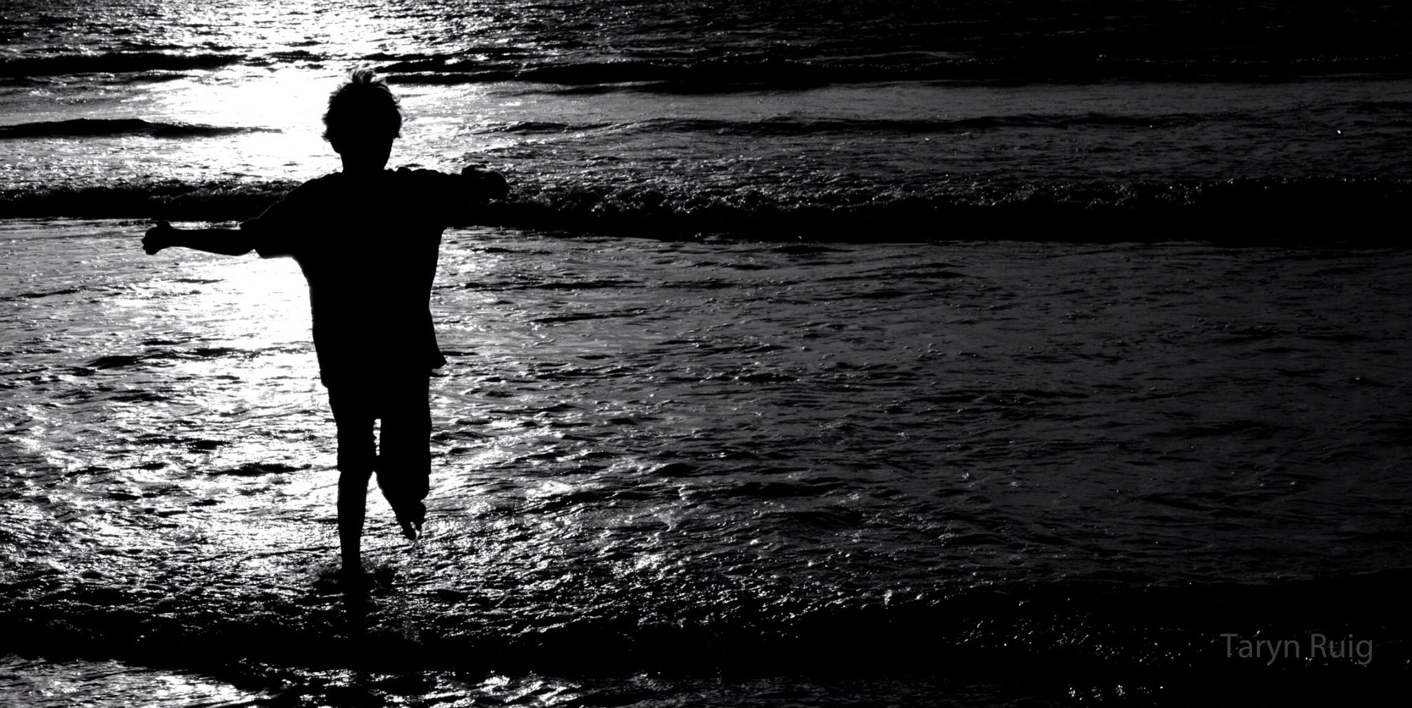 portrait of child on beach