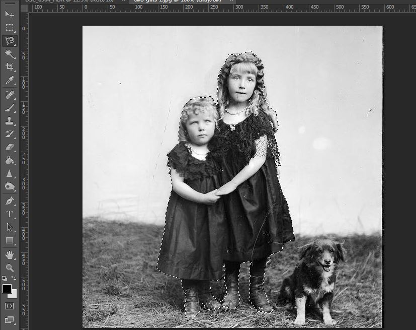 Use the magnetic lasso tool to roughly outline your subject. In this case, the two girls.