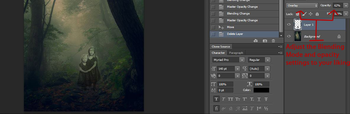 """Browse through blend modes and Opacity settings on the """"ghost"""" layer until it's just right."""