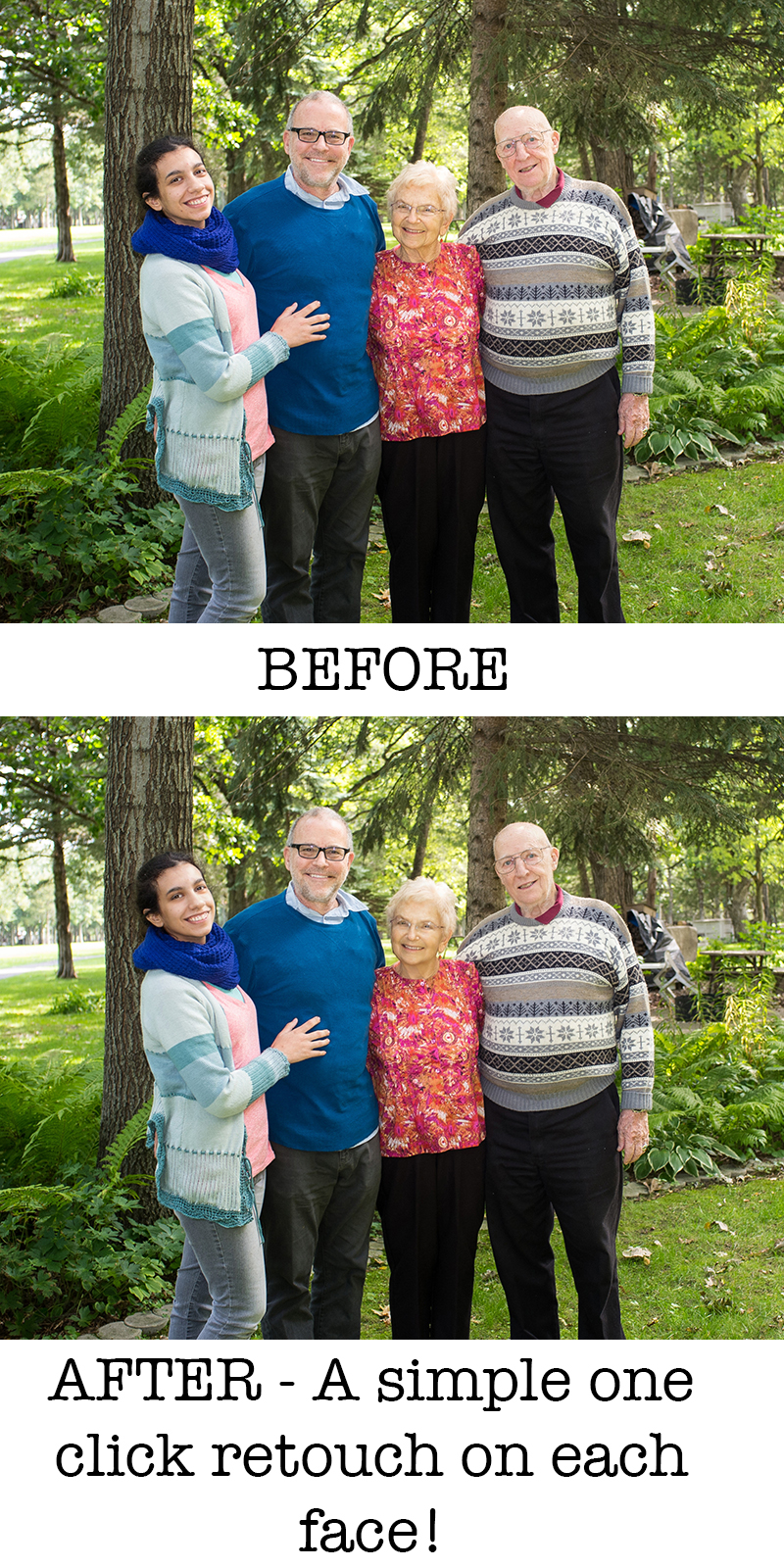 Photograph by Kent DuFault. While not as efficient with group shots- the program is still a time savior for rapid retouching of multiple people in a shot.