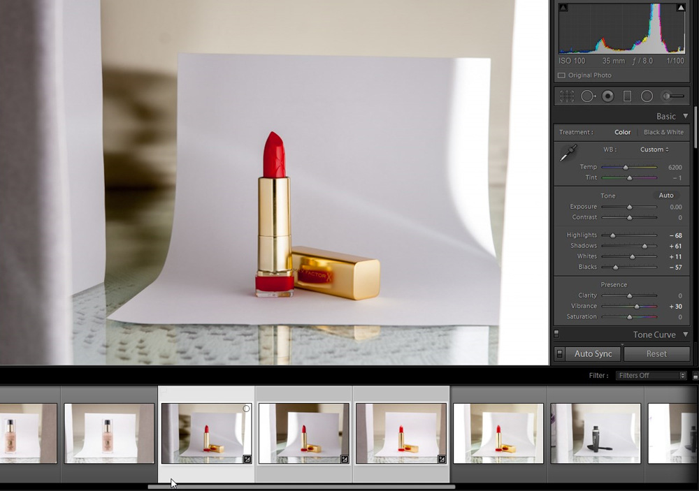 Images loaded in Lightroom, with initial settings applied.