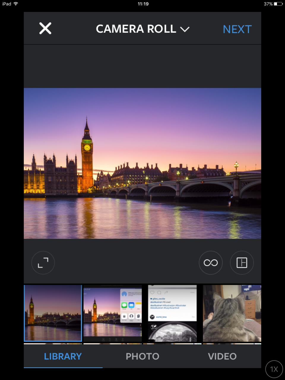 Returning the image back to landscape format in the Instagram app