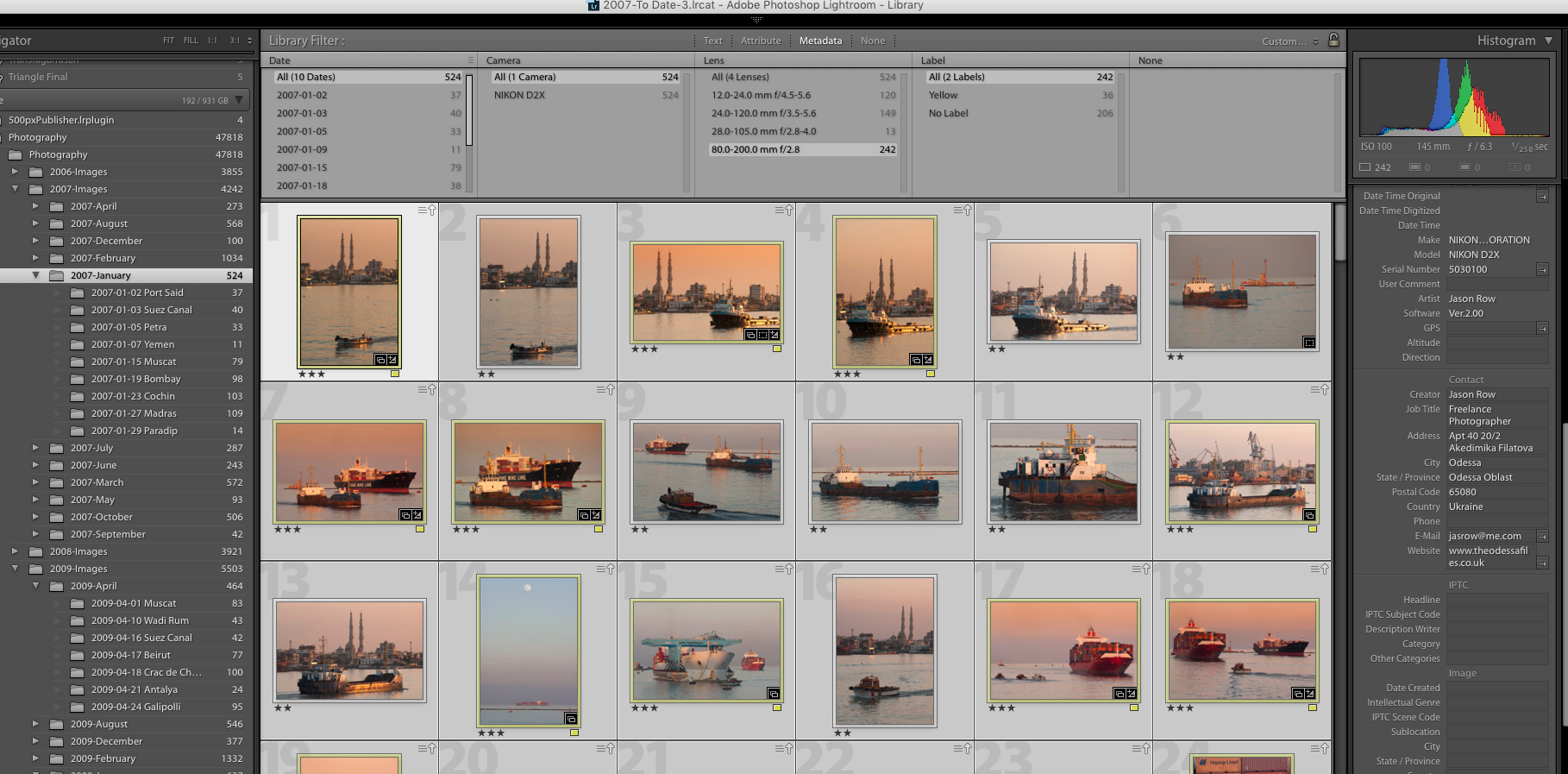 You can use EXIF data to search for images in Lightroom