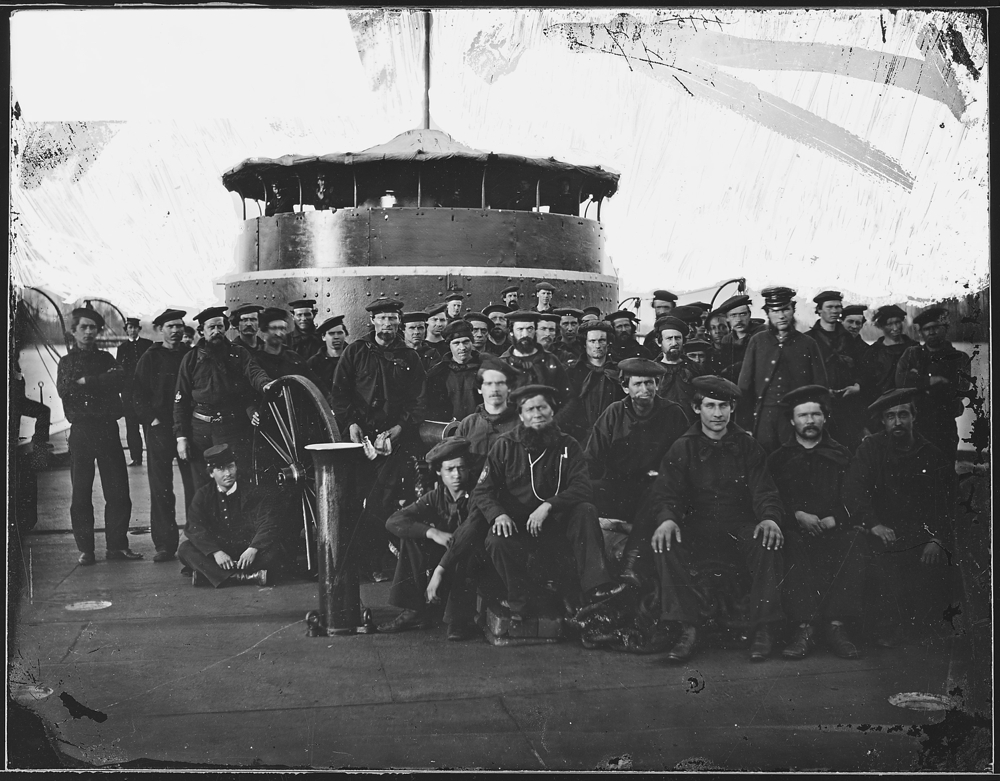 Deck of a Monitor. Enlisted men on deck