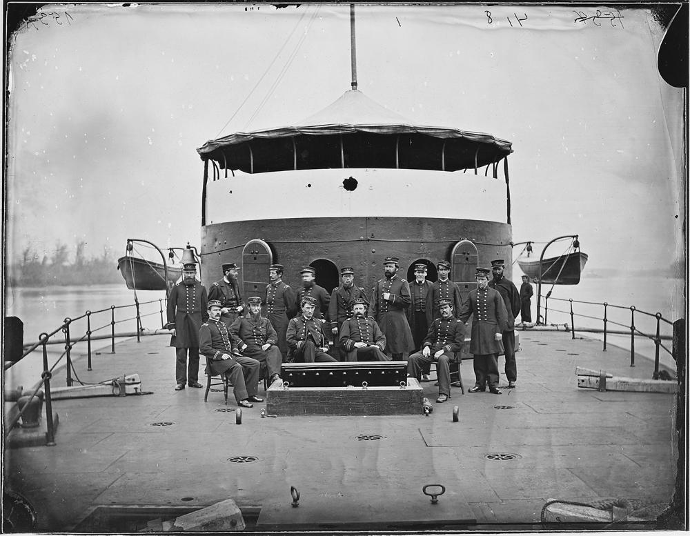 "Officers on board monitor ""Mahopac"", James River, Va., 1864"