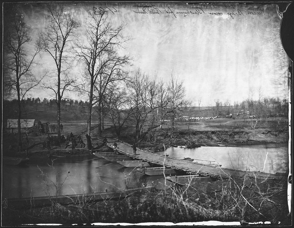 Pontoon bridge across Blackburn's Ford, Bull Run, Va