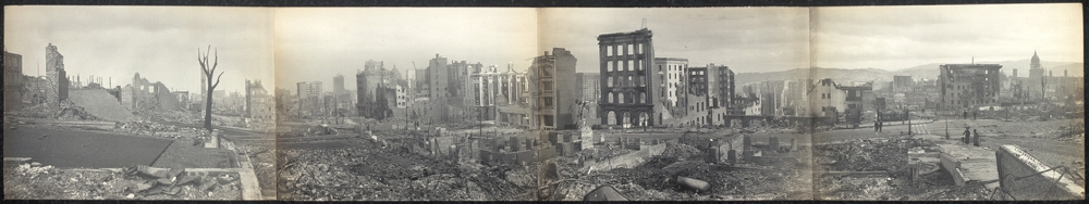Panorama of burned district from Jones & Bush Sts., S.F.