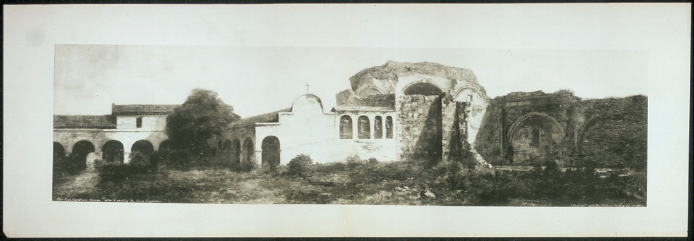San Juan Capistrano Mission after a painting by Chris Jorgensen
