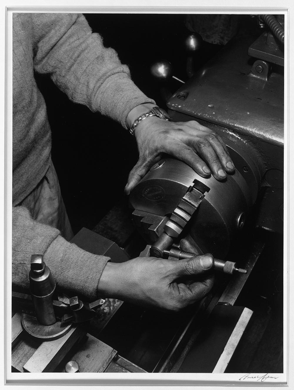 Hands of lathe worker, Manzanar Relocation Center