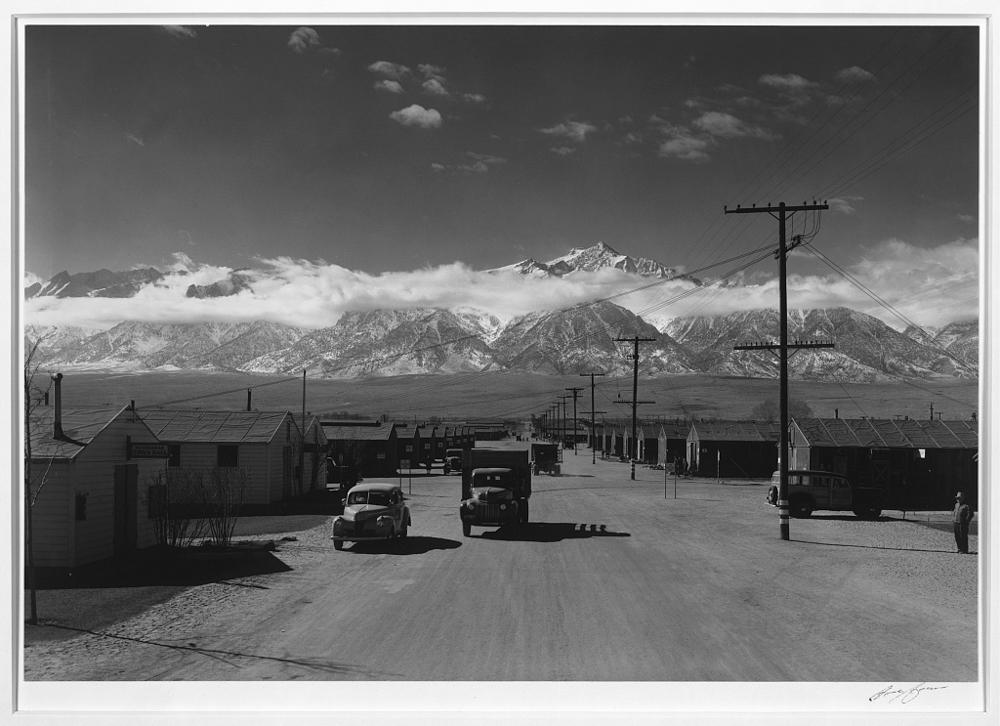 Manzanar street scene, spring, Manzanar Relocation Center