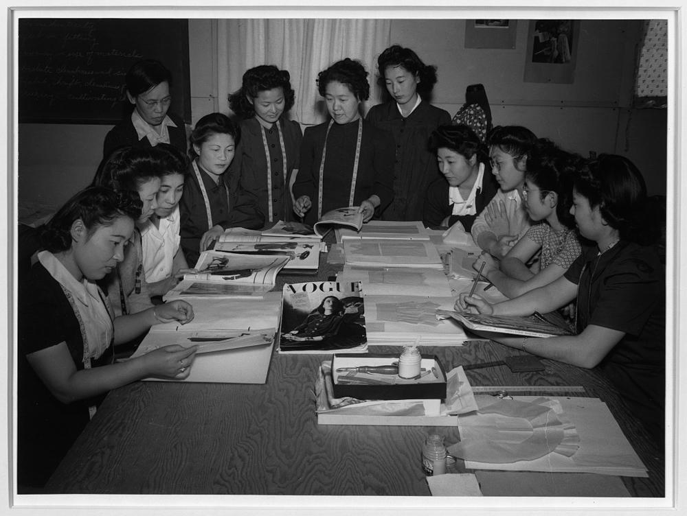 Mrs. Ryie Yoshizawa, teacher of fashion and designing, etc., Manzanar Relocation Center, Manzanar, California