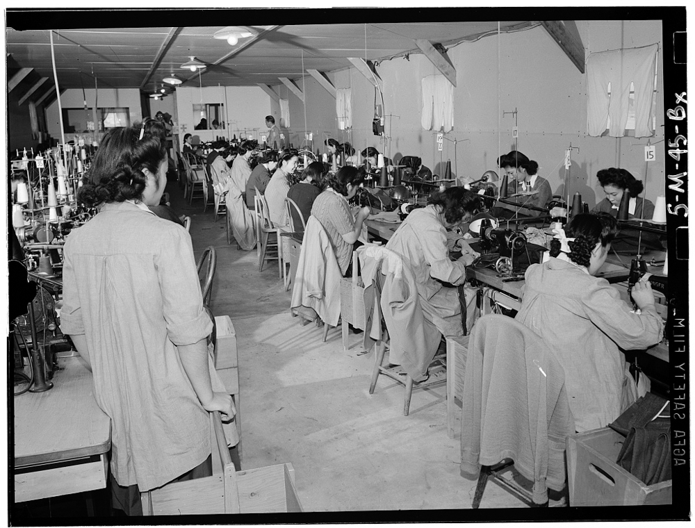 Sumiko Shigematsu, foreman of power sewing machine girls, Manzanar Relocation Center, California