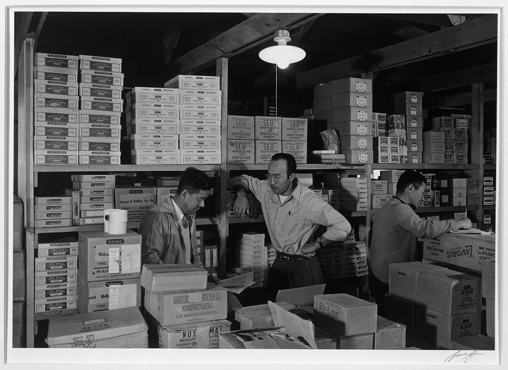 Warehouse, M. Ogi, manager; S. Sugimoto, manager of Co-op; Bunkichi Hayashi, Manzanar Relocation Center