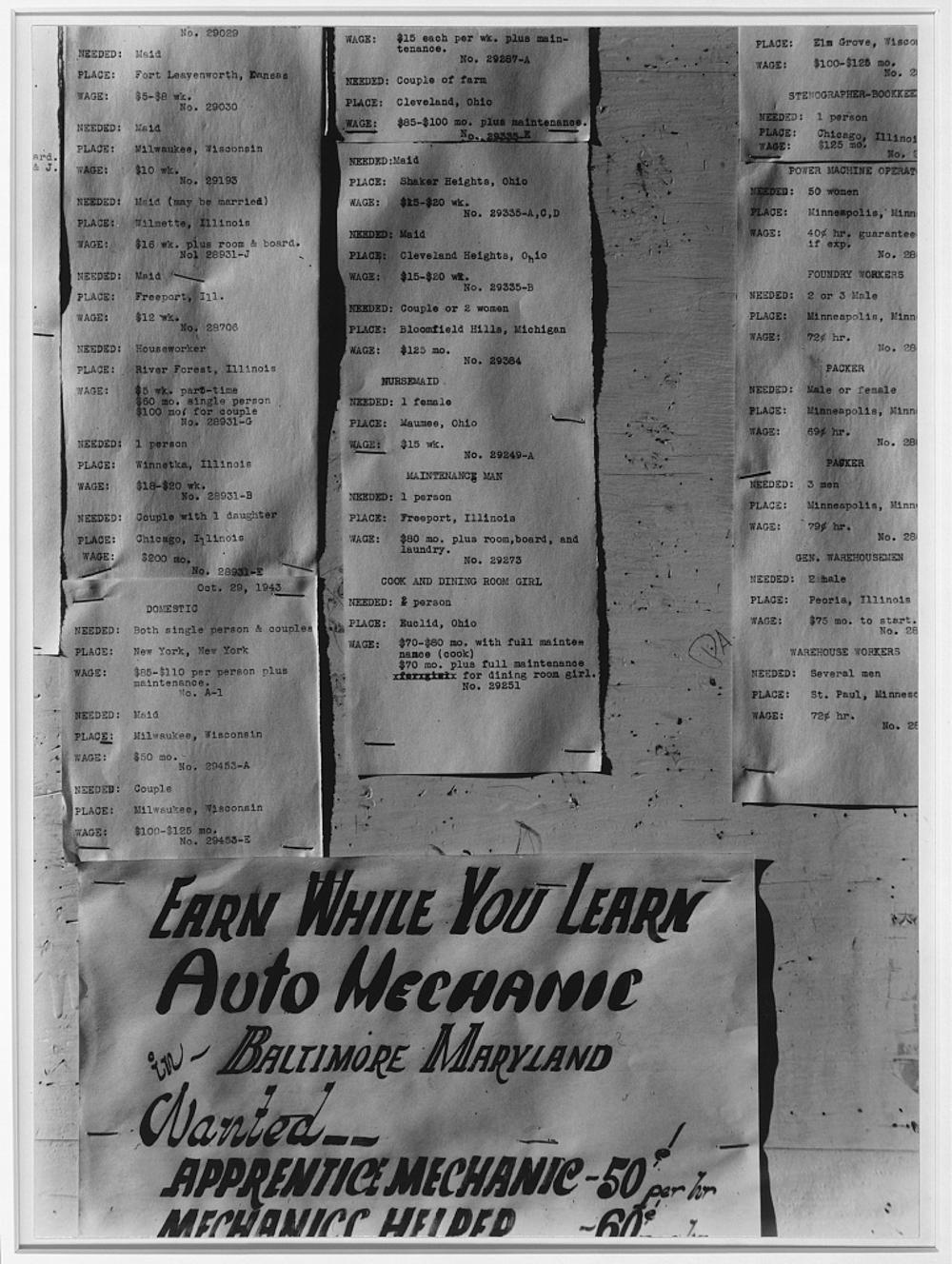 Work-offer board, Manzanar Relocation Center, Calif.