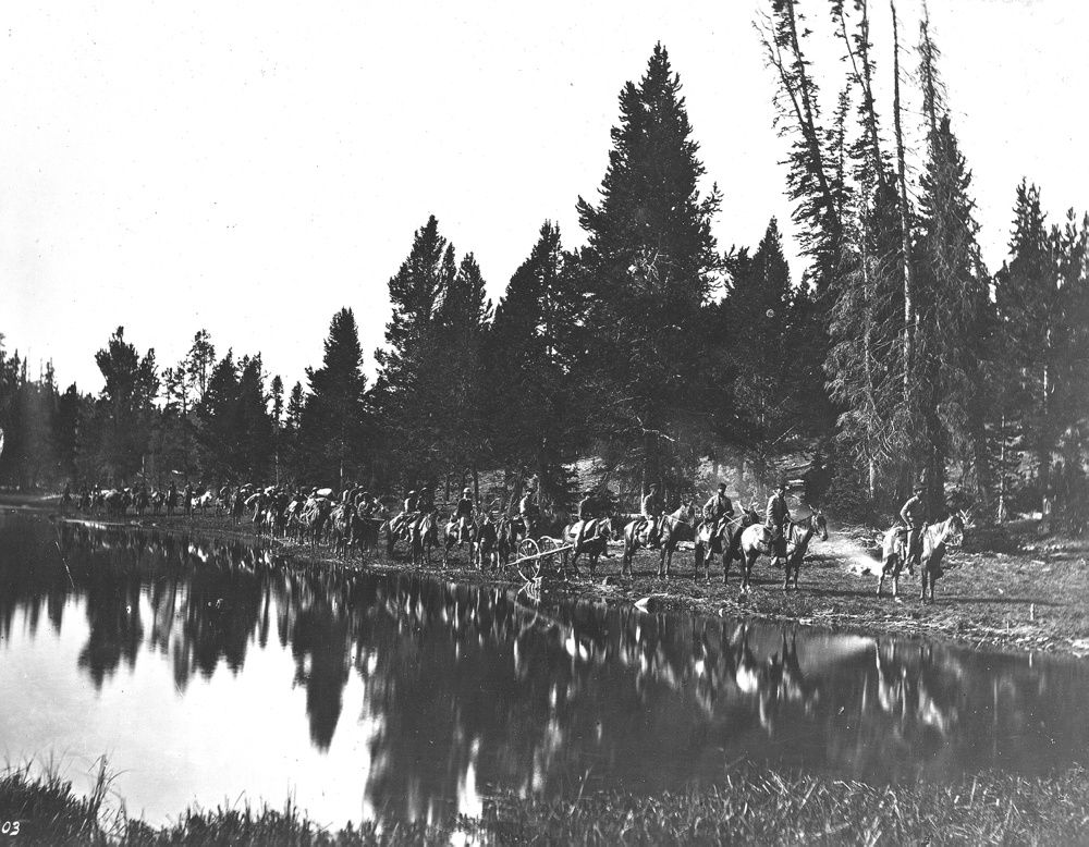 1871 Hayden Survey at Mirror Lake en route to East Fork of the Yellowstone River