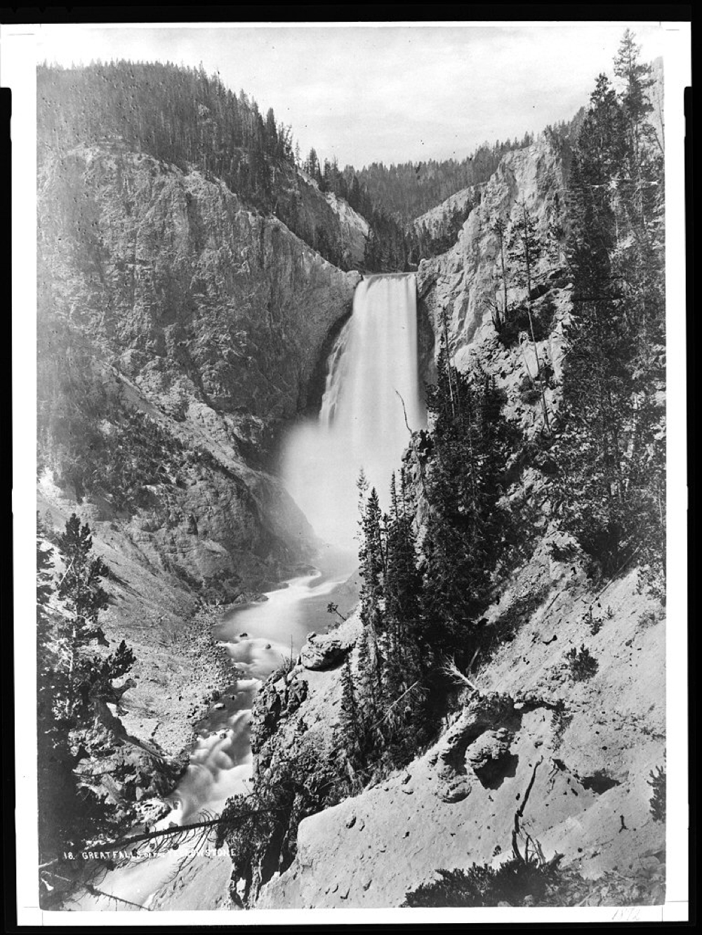 1871 Photo of Lower Yellowstone Falls by William Henry Jackson