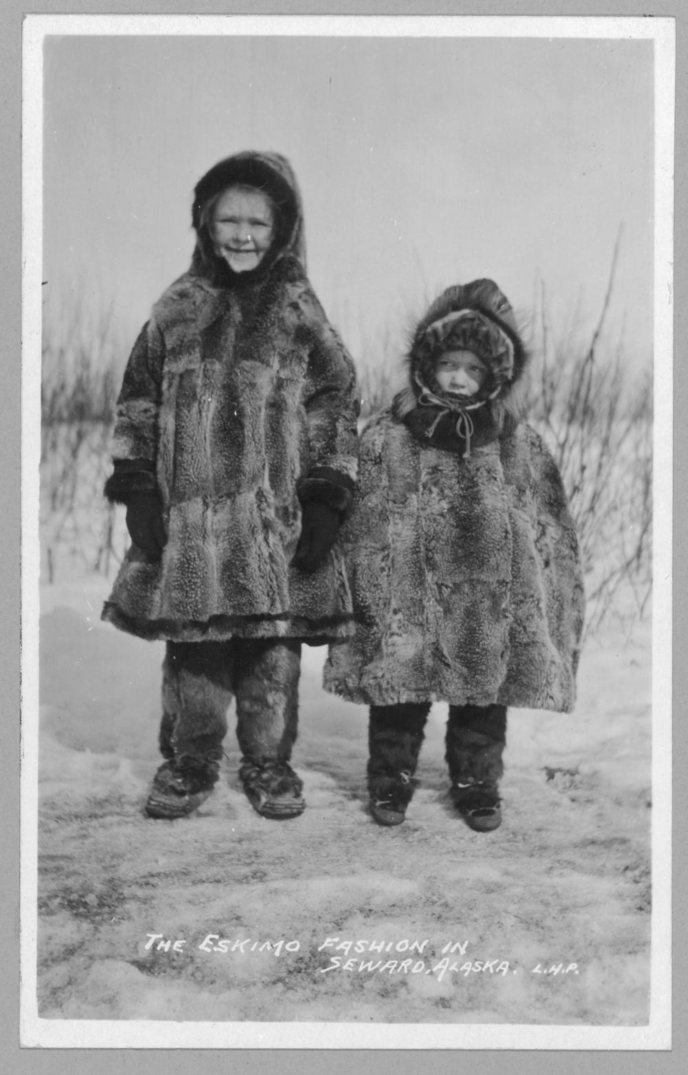 Children in Eskimo fur clothing