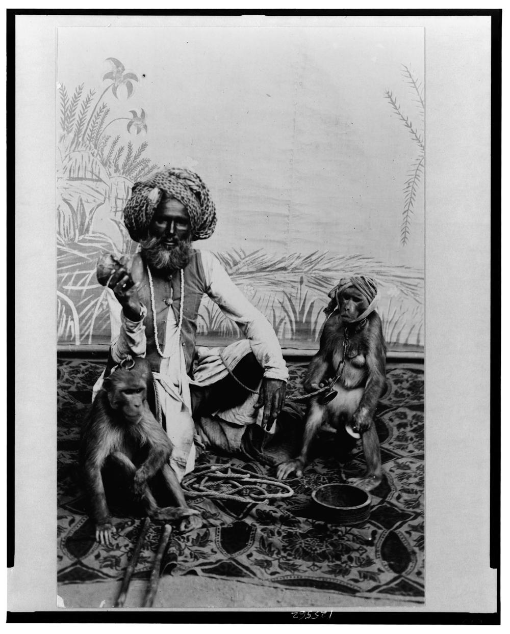 India--Fakir with monkeys