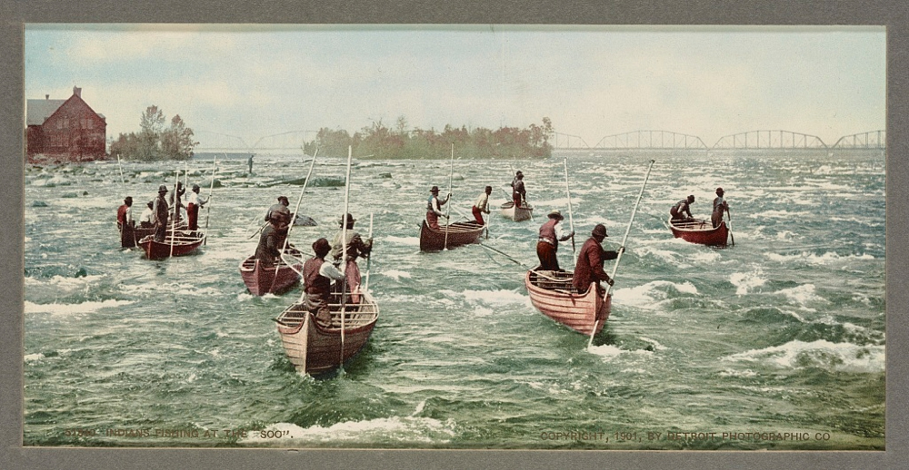 Indians fishing at the Soo