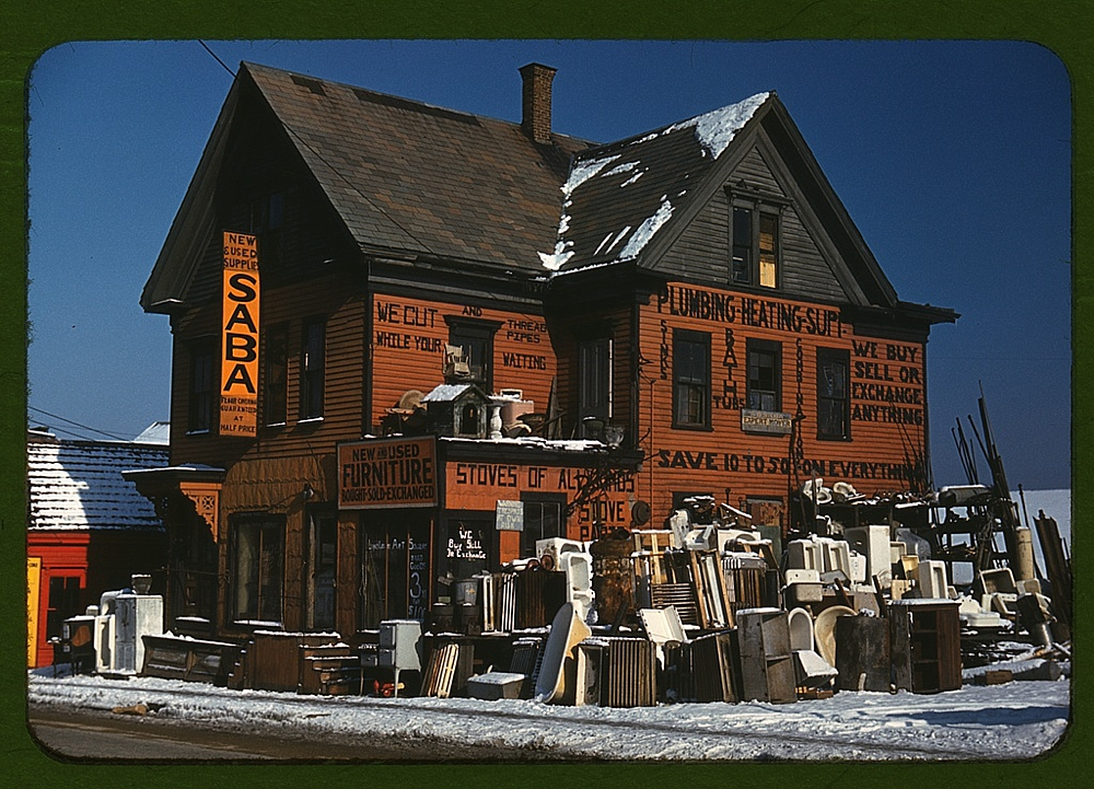 Brockton, Mass., Dec. 1940, second-hand plumbing store