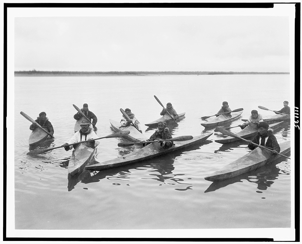 [Eskimos in kayaks, Noatak, Alaska]