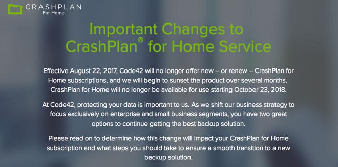 Code42 Ends CrashPlan For Home Subscriptions