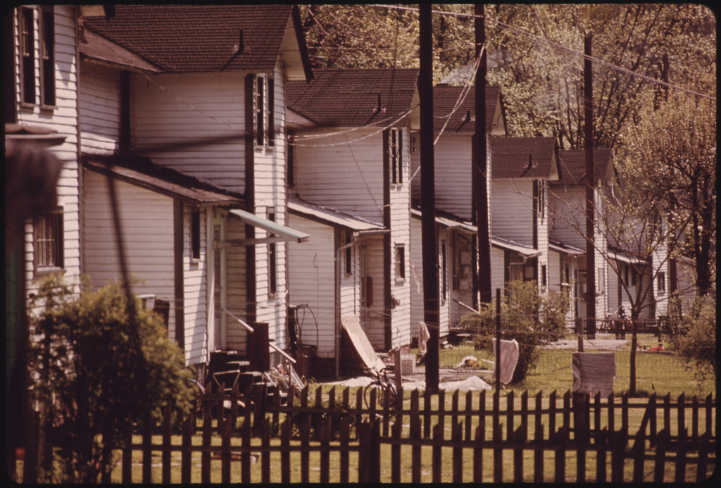 Rear View of Supervisors' Housing in Dehue, West Virginia, a Youngstown Steel Corporation Company Town near Logan 041974