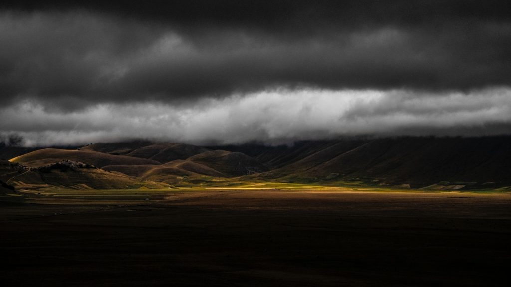 Hills with storm.
