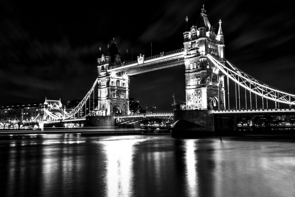 River and london tower bridge in black and white