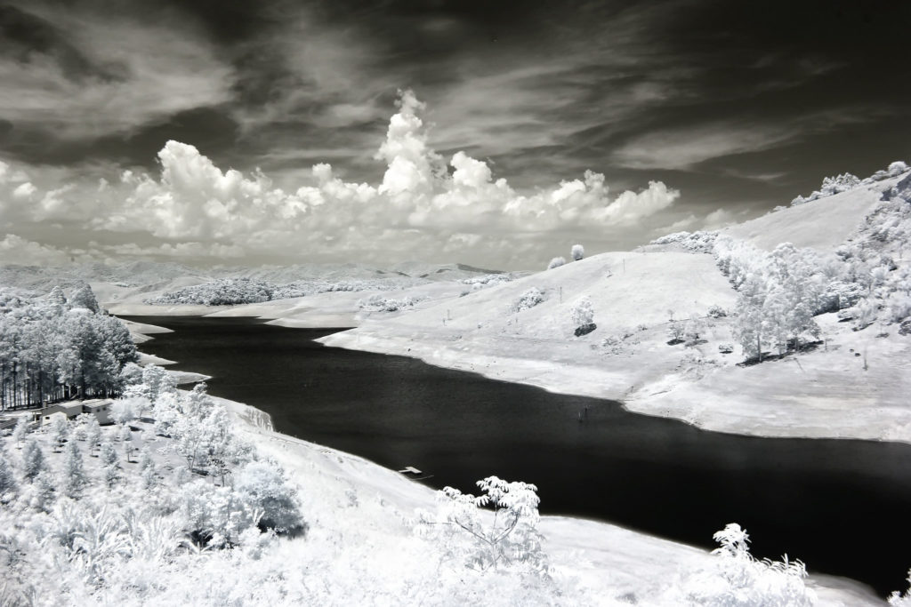 River and snow in black and white
