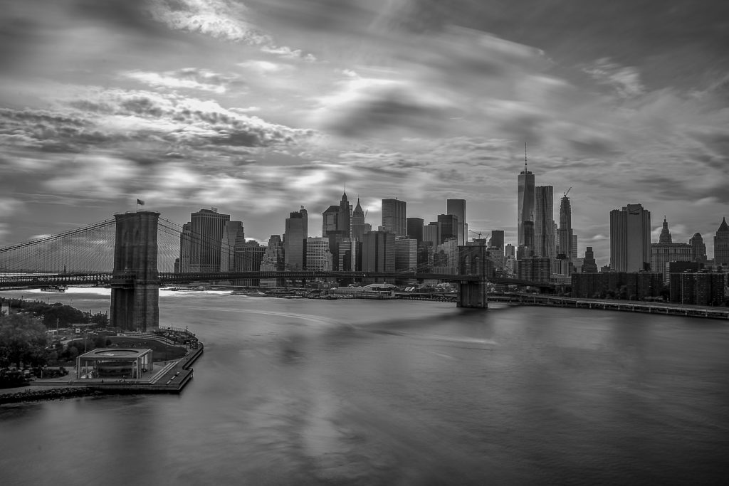 River and city in black and white