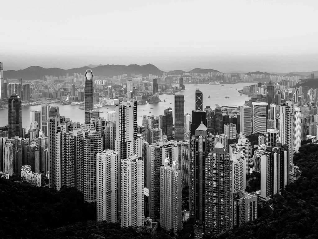 River and city skyline in black and white