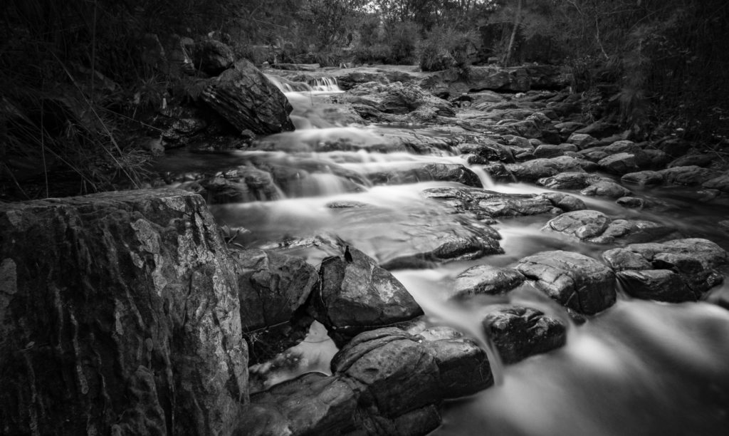 River in black and white