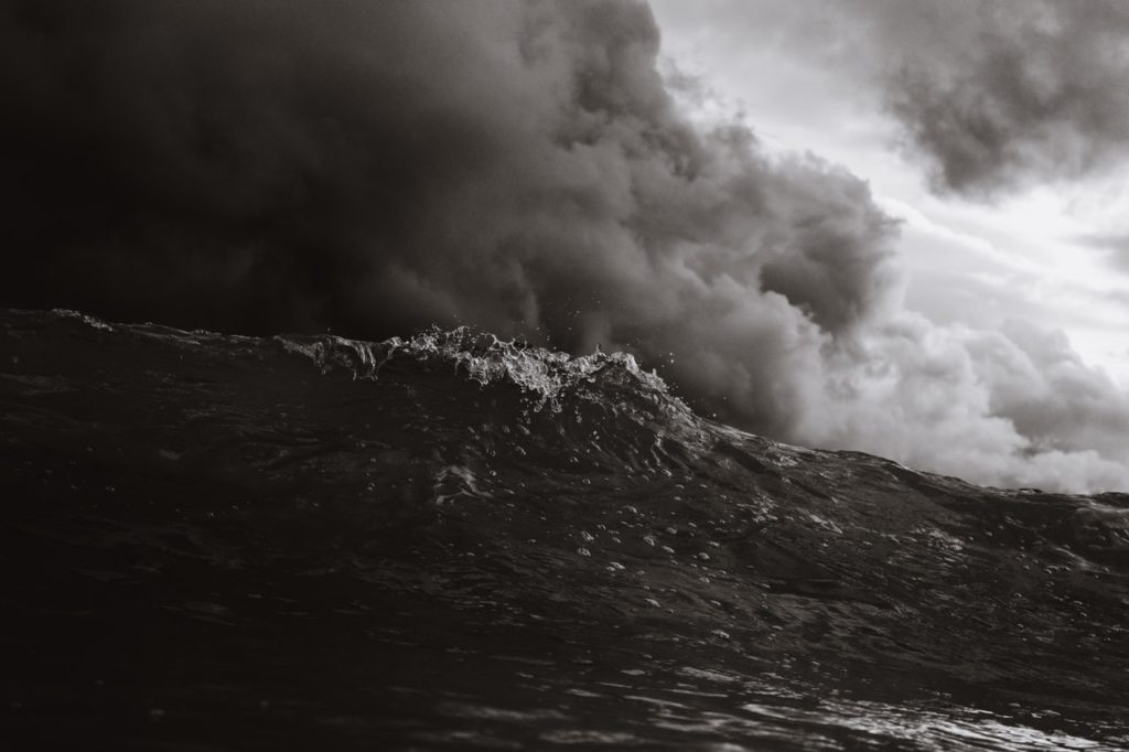 Storm over a wave.