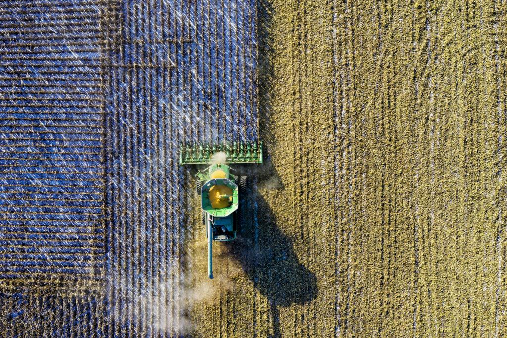 aerial photography farm harvest