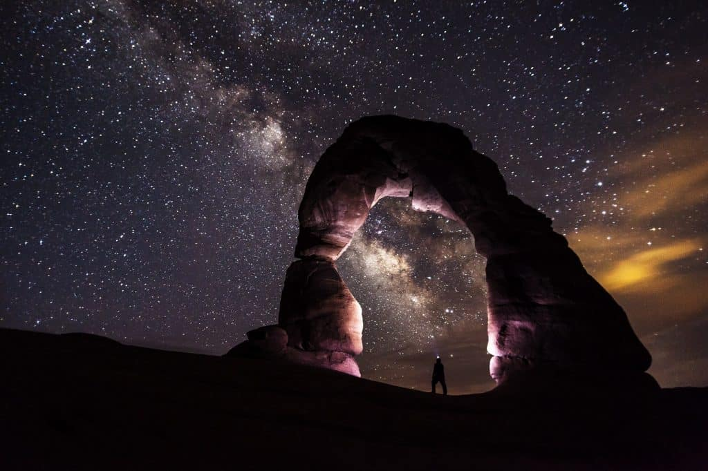 Milky way over rock arch