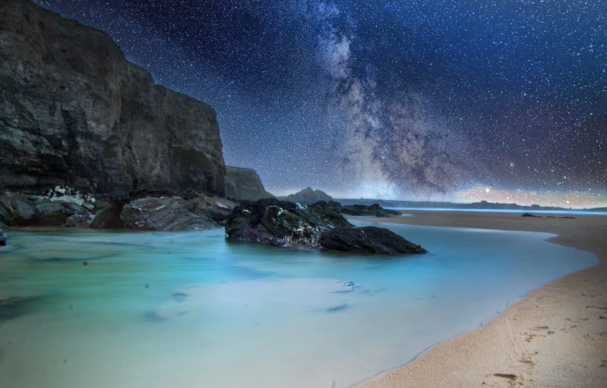 Milky Way over sea rocks