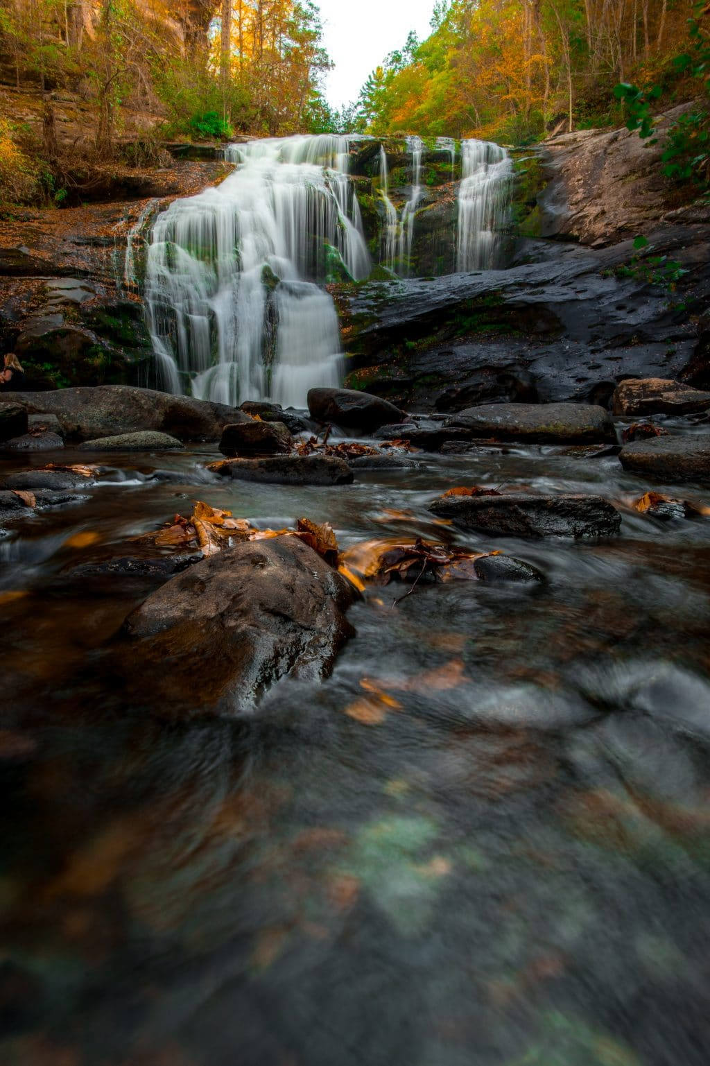 Autumn Waterfall with leaves