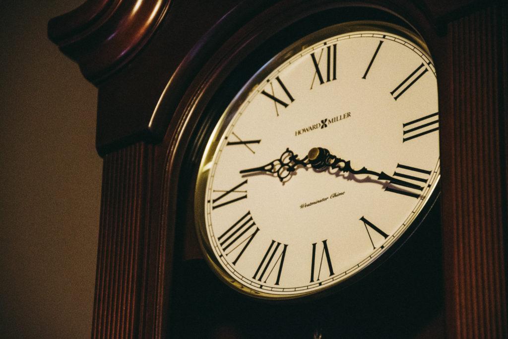 close up of roman numerals clock