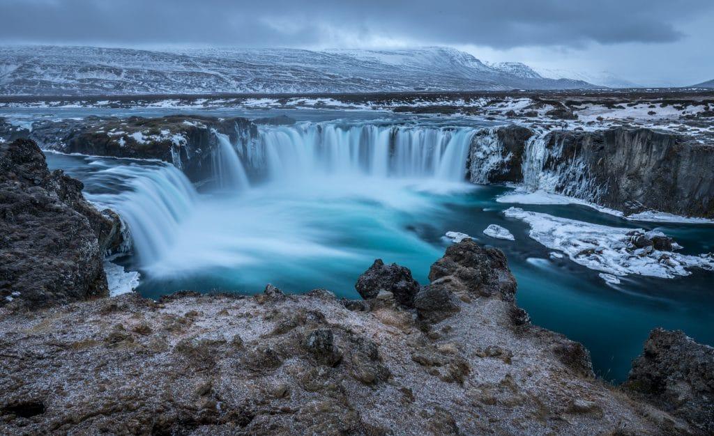 Beautiful blue large waterfall