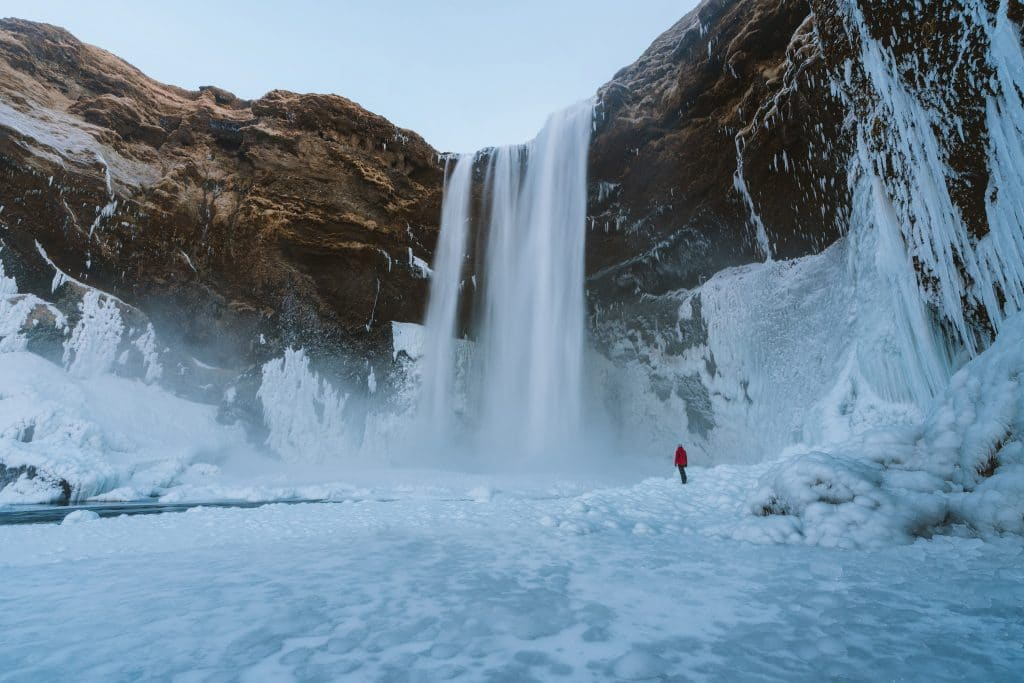 Ice with waterfall